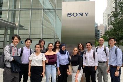 Internship students in front of Sony building