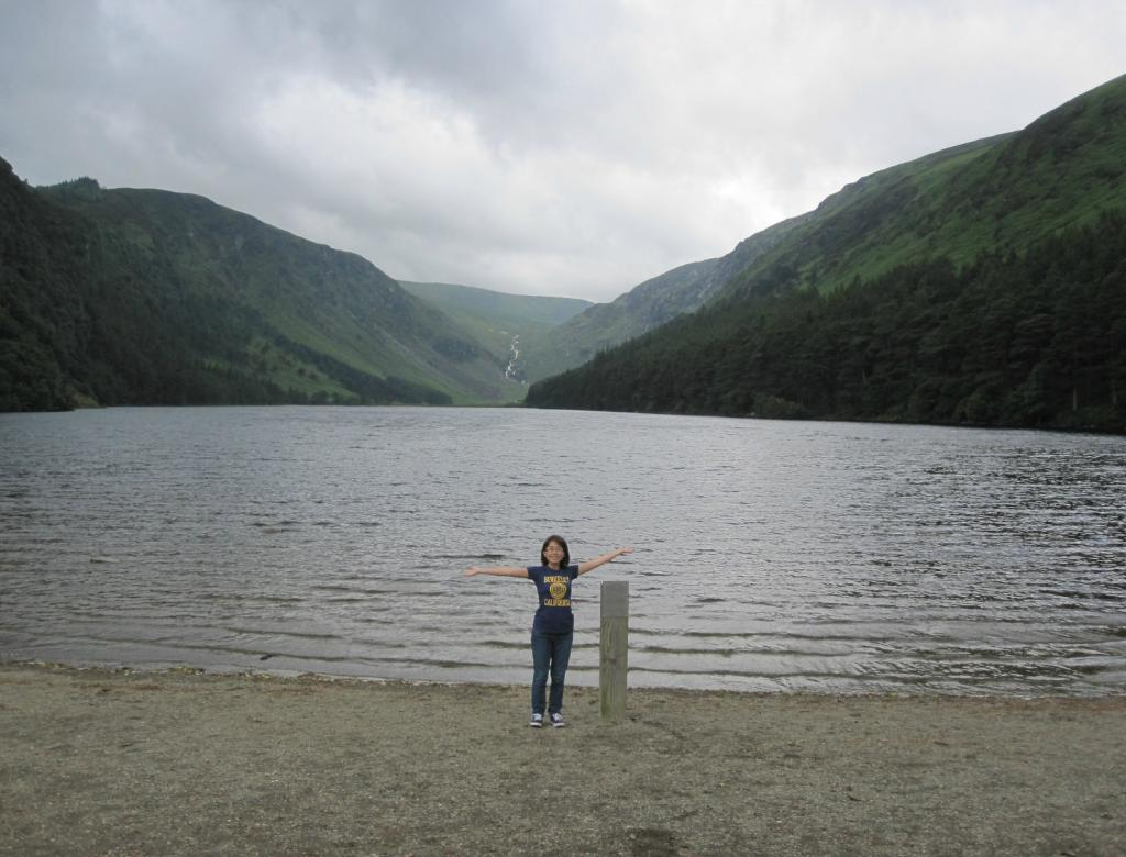 Posing for a picture in front of Wicklow Lake.