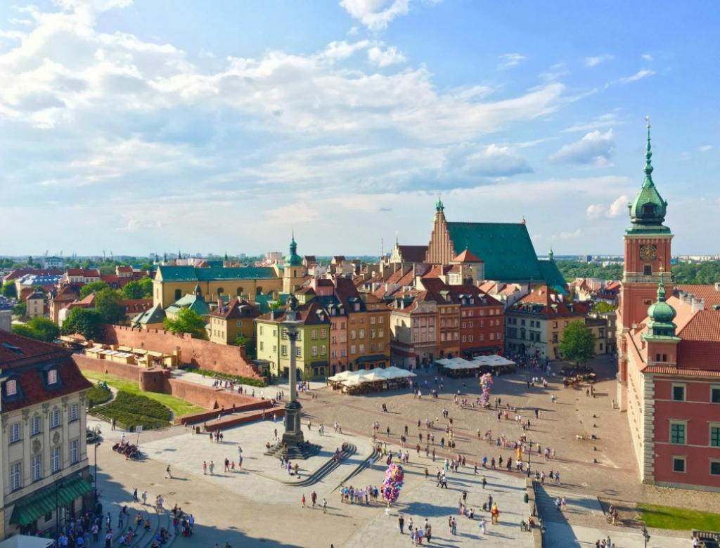 Aerial view of Old Town, Warsaw.
