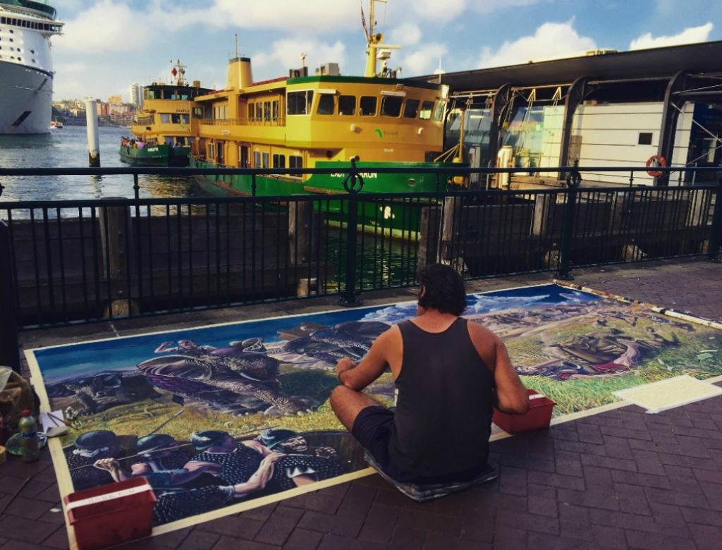 Artist at work in Sydney.