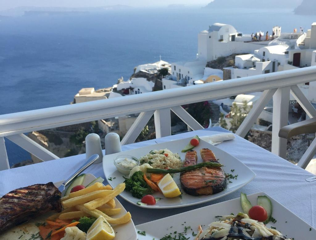 Great food and a great view in Greece.