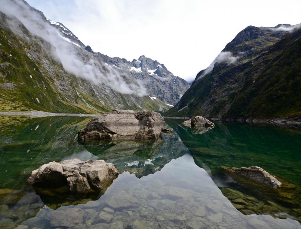 Reflective view of a glacial lake in New Zealand