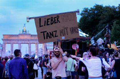 Berliners of all ages counter protesting against anti-immigration right wing protesters using club music, music that Berlin is well known for.