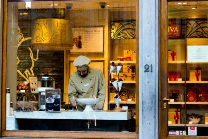 A chocolatier hard at work in Belgium