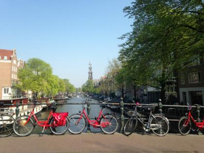 Bikes and a canal in Amsterdam