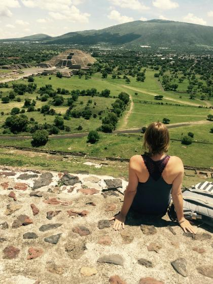 Sitting atop pyramids in Mexico.